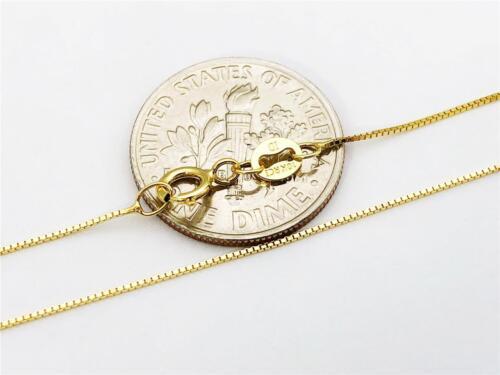 "10K 20/"" Pouces Solide Or Jaune Mince box collier chaîne .6 mm or 10K"