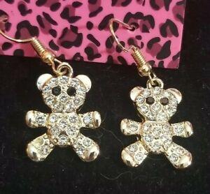 New-Betsey-Johnson-Crystal-Rhinestone-Enamel-Gold-Bear-Drop-Earrings-Jewelry