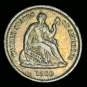 1860-O-Seated-Liberty-Half-Dime-5C-XF-AU-High-Grade-War-US-Silver-Coin-CC2283