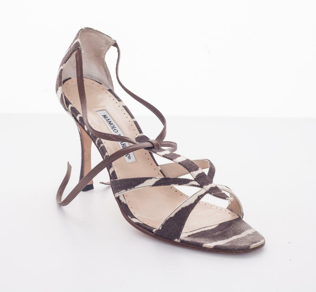 wholesape economico MANOLO BLAHNIK Animal Print Print Print Canvas High Heel Strappy Sandal Pump scarpe 10-40  negozio online