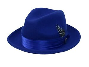 fa0172e94e6bf Image is loading Men-039-s-Fedora-Dress-Hat-Royal-Blue-