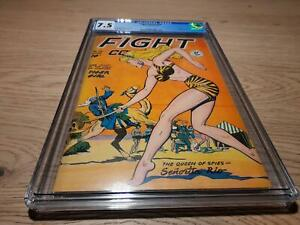 Fight comics # 56, Fiction House 6/1948 Golden Age Tiger Girl COVER, CGC 7.5