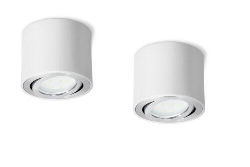 2x Decken Aufbauspot weiß schwenkbar inkl LED Modul 5W warmweiss 230V