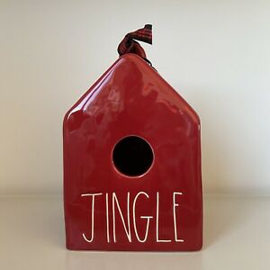 New-Rae-Dunn-Red-JINGLE-Christmas-2020-Ceramic-LL-Square-Birdhouse