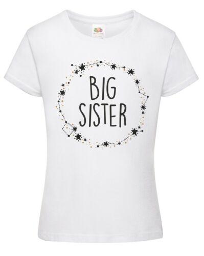 Filles Big Sister Star Couronne T-shirt-Imprimé Enfants Grossesse révéler Cadeau Top