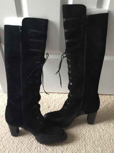 Stuart Weitzman Knee High Boot Shoe Heel Lace Up S
