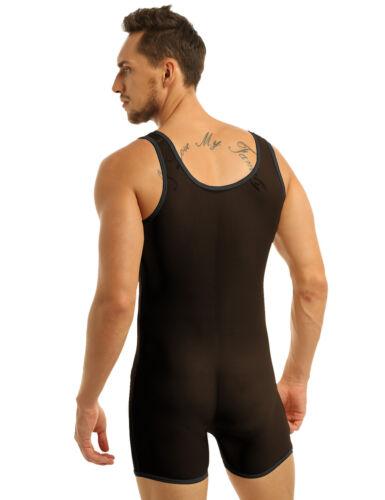 Men/'s Lingerie Boxer shorts Sleeveless Leotard Bodysuit Penis Sheath Underwear