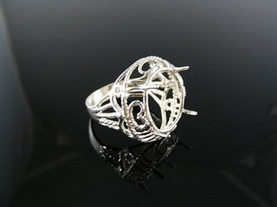 6 mm Round Gemstone D6215 Ring Setting Sterling Silver Size 6.5
