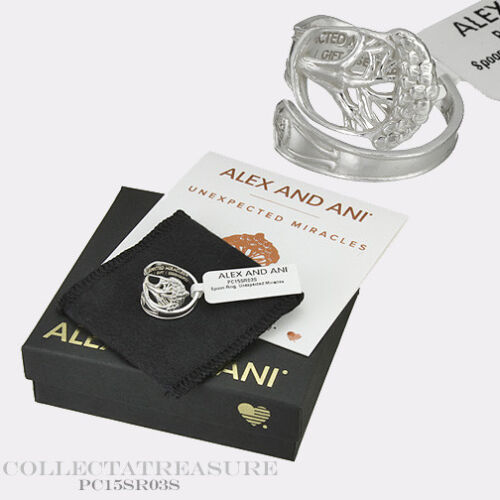 Authentic Alex and Ani Unexpected Miracles .925 Sterling Silver SPOON RING
