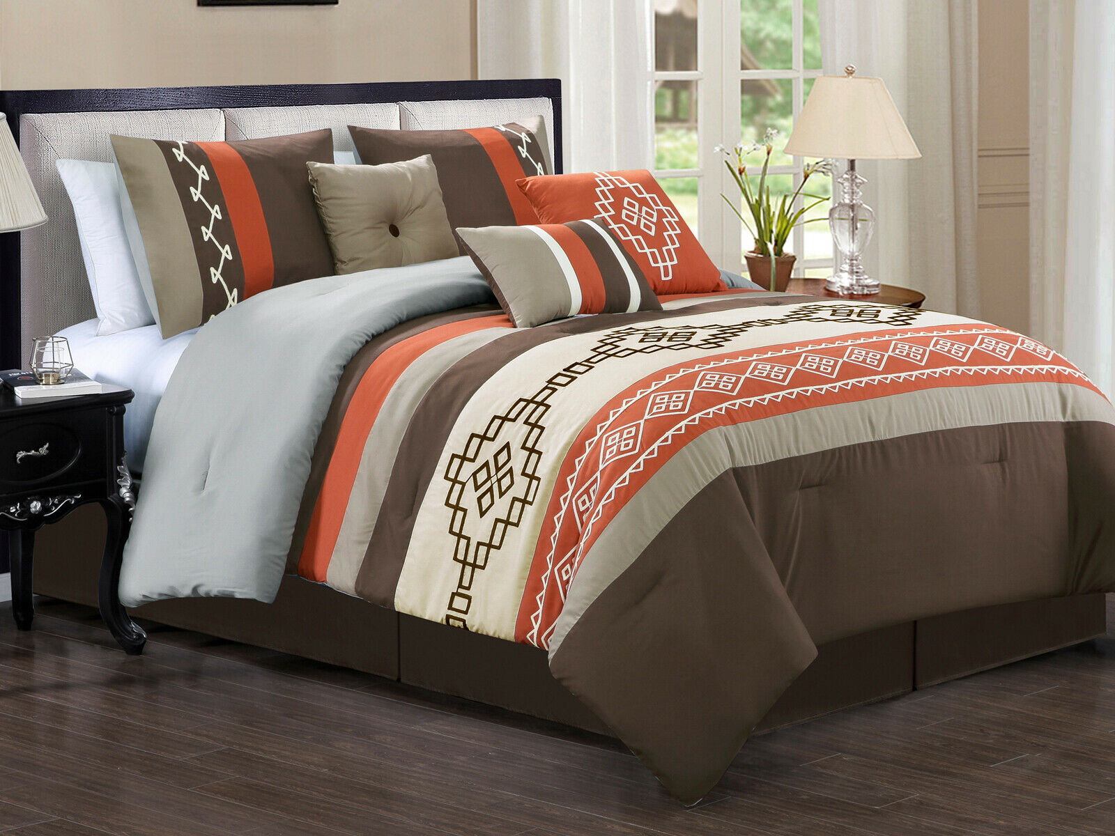 11-Pc Makawee Southwest Rectangle Comforter Curtain Set Taupe Rust braun Queen