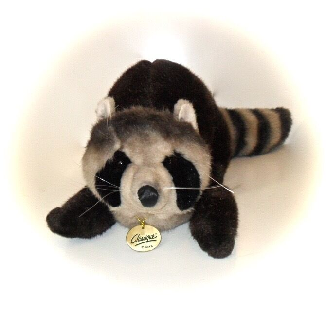 DAKIN Vintage 1988 Classique Raccoon Large Stuffed Plush Toy w/Metal Tag 24