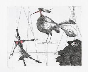 PAUL-FLORA-ORIGINAL-RADIERUNG-034-Marionetten-und-Vogel-034