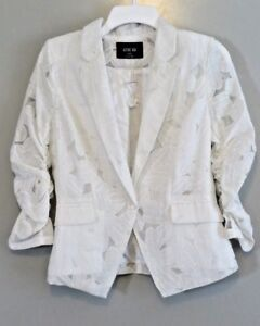 NWT Active USA White Burnout Lined Ruched-Sleeve Blazer/Jacket Size S