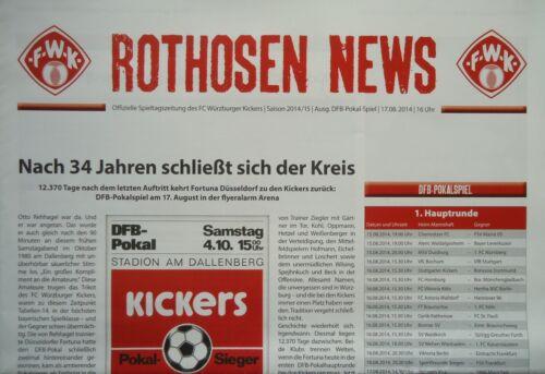 Programm 2014//15 Kickers Würzburg Fortuna Düsseldorf