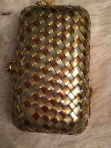 VINTAGE-PURSE-CLUTCH-METAL-CHAIN-BASKET-WEAVE-CROSSBODY-TASSEL-HAND-WOVEN-RETRO