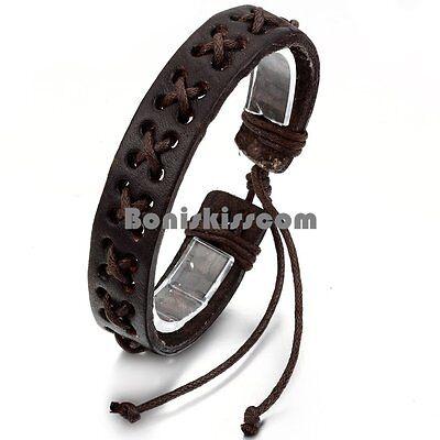 Handcrafted Brown Leather Rope Wrap Adjustable Bracelet for Men