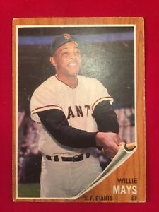 Details About 1962 Topps 300 Willie Mays San Francisco Giants Hof Baseball Card