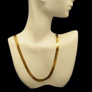 Sleek-Fluid-Herringbone-Chain-Necklace-Vintage-Gold-Plated-Elegant-Glassy