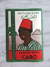 CARLTON HOTEL, CAIRO...ORIGINAL LUGGAGE LABEL
