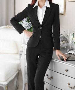 f79839516a1e Caricamento dell immagine in corso Elegante-Tailleur-completo-donna-gessato- nero-blu-giacca-