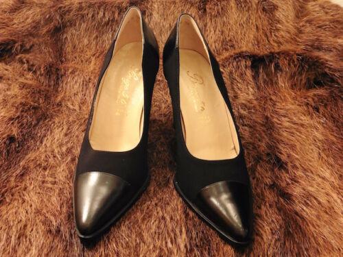 Vintage 36 Zapato 2 Cuero Nuevo T Negro De Tonos 1900 Borgo Tacón 56 Súper ZwqOzO