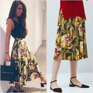 b290d9d83 Green Yellow Floral Pleated Folds Midi Skirt Mango Size UK 6 US 2 ...