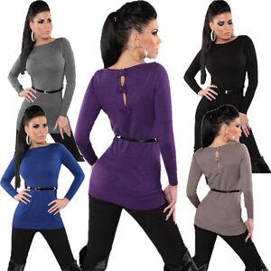 Fein-Strick-Pullover-Pulli-Sweater-Sweatshirt-Kleid-Guertel-S-34-36-neu-top-sexy