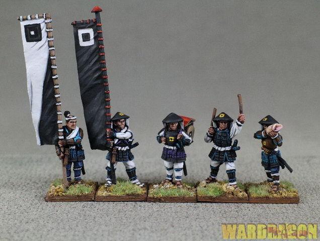28 mm Antigua Wds Pintado ashigaru Bannermen y músicos de pie a54