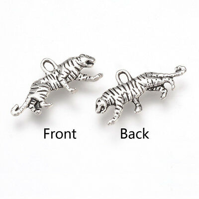 7 Antique Silver Tibetan Metal ANIMAL Zoo DIY Charms Pendant Bead Craft Card Kit