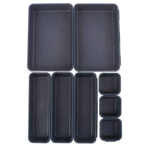 8pcs Storage Kitchen Bathroom Closet Desk Box Drawer Organization Tray Cutl/_FEH