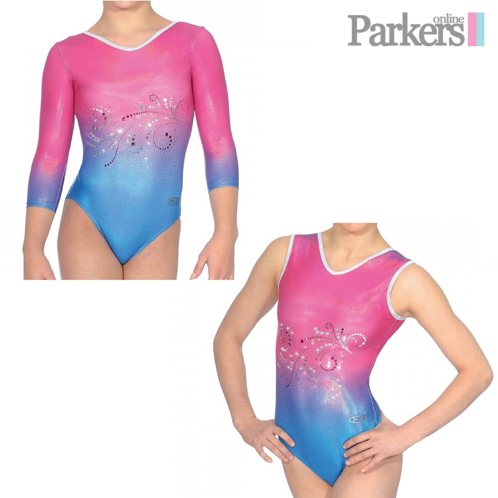 NEW GIRLS ZONE VIENNA 3 4 SLEEVE SLEEVELESS DANCE GYMNASTICS LEOTARD SIZE 24-38