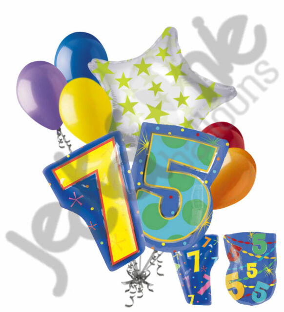 8 Pc 75th Birthday Theme Balloon Bouquet Party Decoration Number Primary Color