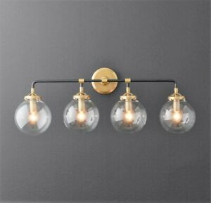 Globe 4 Light Globe Vanity Sconce Black And Gold Bathroom Light Fixture Ebay
