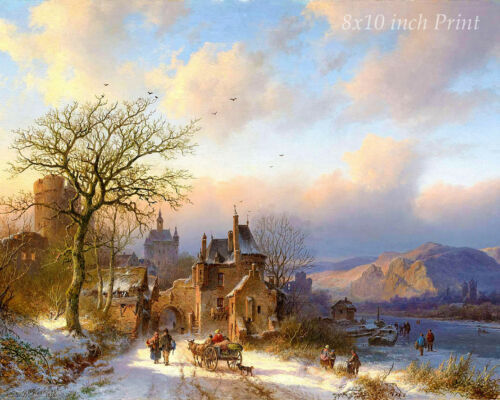 Cold Snow Frozen 8x10 Print Picture 1689 Winter Landscape by Berend C Koekkoek