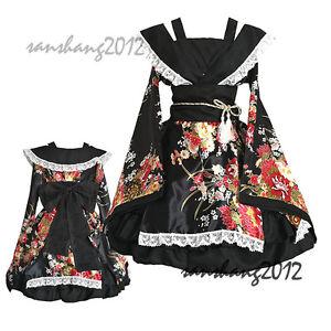 d6514d10c45 Image is loading Damen-Japanese-Kimono-Yukata-Lolita-Madchen-Kleid-Cosplay-