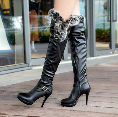US4-12.5 Ladies Peep Toe Over Knee Thigh High Stiletto heels Nightclub Shoes New