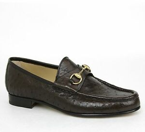 45292587a52 New Gucci Men s Ostrich Classic Horsebit Loafer Moccasin Brown ...