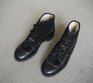 Victorian-1940s-French-Deadstock-Black-Wool-Felt-Leather-Workwear-Winter-Boots