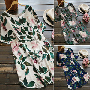 ZANZEA AU 8-24 Women Short Sleeve Tunic Top Blouse Floral Sundress Party Dress