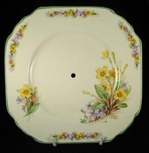 Imperial-Ware-Yellow-Orange-amp-Purple-Flowers-Square-Cake-Plate-1951