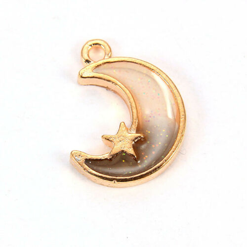 10Pcs Dream Moon/&Star Charms Enamel Pendants Fit DIY Bracelet Earring Necklace