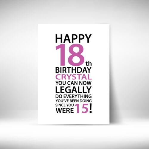 Personalised HAPPY 18th BIRTHDAY Print Female Girl Gift Present Unique Eighteen
