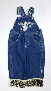 Vtg Baby Snoopy Denim with Leopard Print Cuffs Blue Jean One Piece Overalls 18M