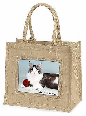 Cat+Rote Rose 'Liebe, die Sie Mama' Große Natürliche Jute-einkaufstasche
