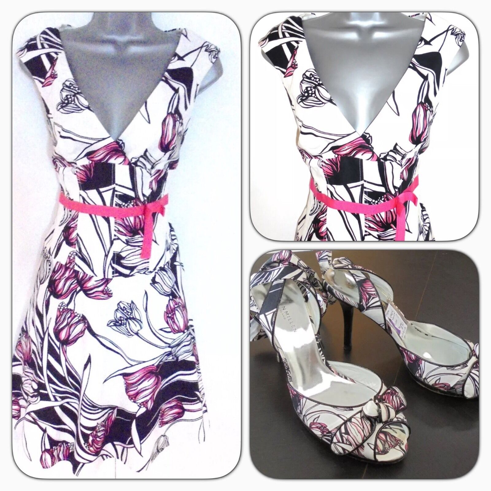 Karen Millen DG226 Tulip Floral Print Evening Occasion Dress 10 & shoes
