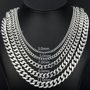 3-5-7-9-11mm-MENS-Chain-Stainless-Steel-Silver-Tone-Curb-Link-Necklace-18-034-36-039-039