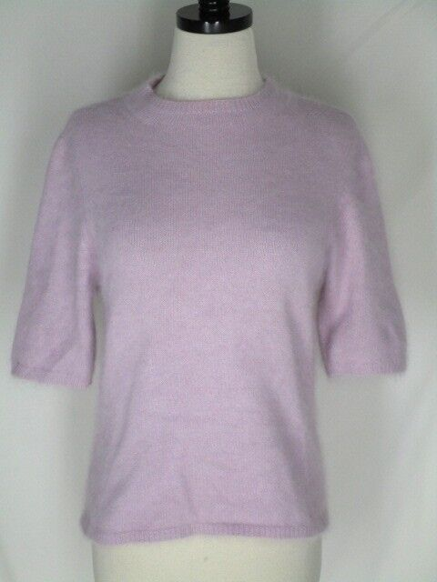 Caslon Lavender 70% Angora Short Sleeved Sweater M Soft Fluffy Furry