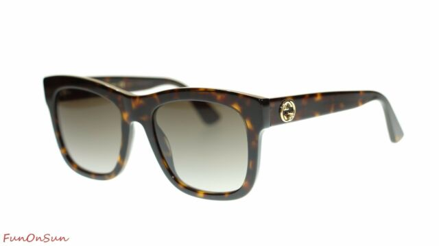 009c6ee3583 Gucci Women Rectangular Sunglasses GG0032S 002 Havana Brown Lens 54mm  Authentic