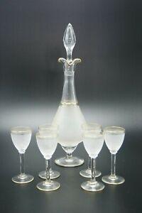 19TH-BACCARAT-GOLD-ART-CRYSTAL-LIQUEUR-SET-1-BOTTLE-6-GLASSES-FRANCE-NUMBERED