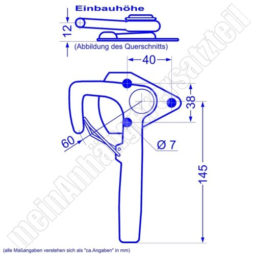 Winkelhebelverschluss Bordwandverschluss mit Federriegel rechts Gr